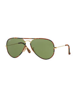 Original Aviator Sunglasses with Camouflage, Brown Horn