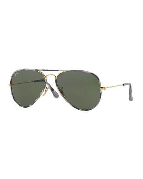 Original Aviator Sunglasses with Camouflage, Gray