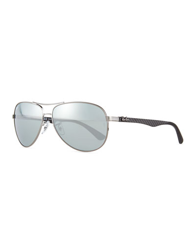 Steel Aviator Sunglasses, Shiny Gunmetal