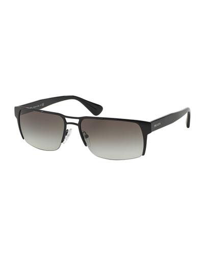 Wire-Rim Rectangular Sunglasses, Black