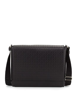 Gancini-Embossed Leather Messenger Bag, Black
