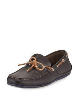 Mango Calfskin Boat Shoe, Chocolate