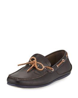 Mango Calfskin Boat Shoe, Chocolate