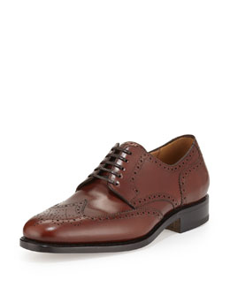 Nilsson Tramezza Calfskin Wing-Tip Brogued Oxford, Brown