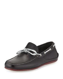 Mango Calfskin Boat Shoe, Black