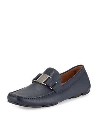 Salvatore Ferragamo Pebbled Leather Vara Loafer, Blue