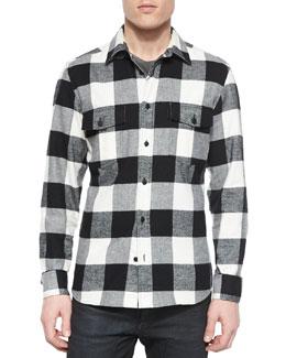 Wilsden Check-Print Flannel Shirt, Black/White