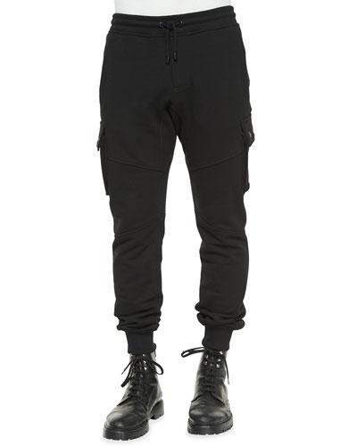 Blackwater Tapered Moto Sweatpants, Black