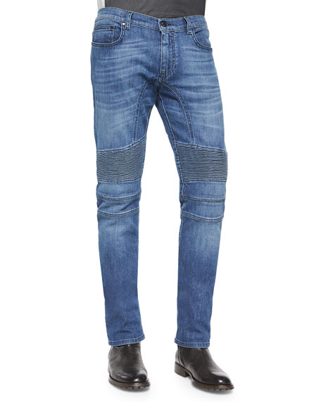 Eastham Slim-Fit Washed Denim Jeans, Blue