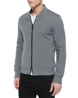 Deveron Moto Zip-Up Fleece Jacket, Gray
