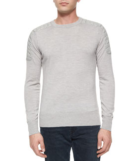 Benning Merino Wool Crewneck Sweater, Gray