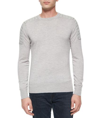 Benning Merino Wool Crewneck Sweater, Gray