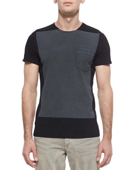 Hallet Two-Tone Jersey T-Shirt, Black