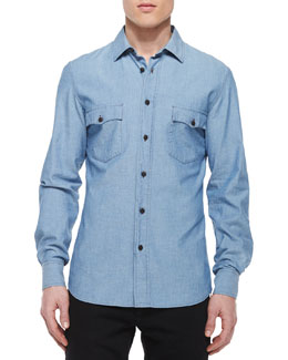 Lowry Chambray Long-Sleeve Shirt, Blue