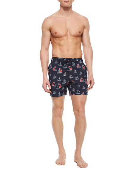 Mistral Sailboat Embroidered Swim Trunks, Navy
