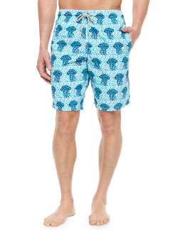 Okoa Jellyfish Print Boardshorts, Blue