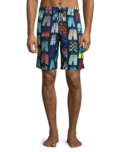 Okoa Swim-Trunks Print Boardshorts, Blue
