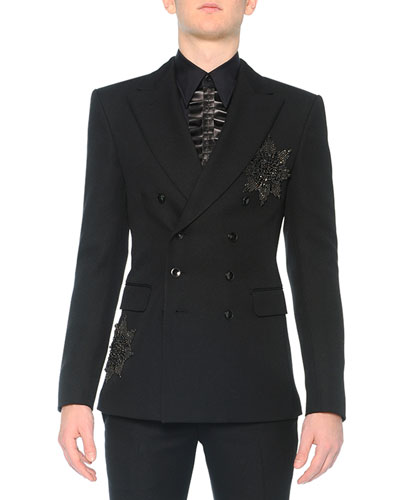 Beaded-Medallion Evening Jacket, Black
