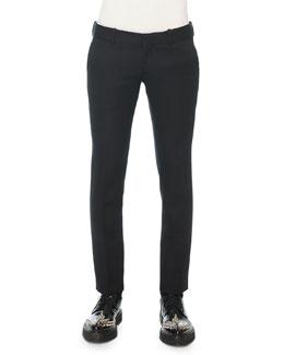Slim Wool Trousers, Black