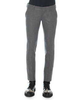 Felt Wool-Cashmere Trousers, Gray