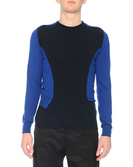 Bicolor Double-Layered Wool Sweater, Blue/Navy