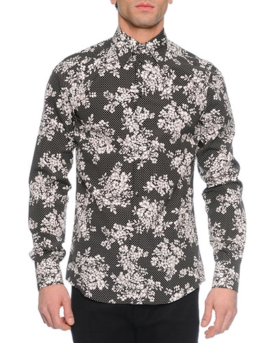 Dot & Floral Print Long-Sleeve Sport Shirt, Black/White