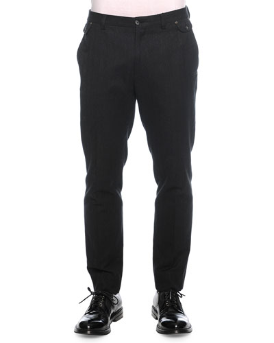 Tonal Herringbone Woven Trousers, Charcoal