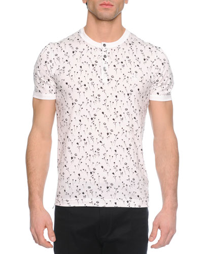 Small Floral-Print Henley Tee, White/Black