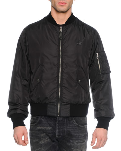 Nylon Puffer Bomber Jacket, Black