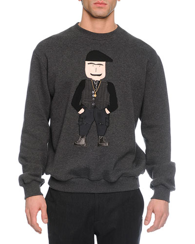 Old Man Applique Crewneck Sweatshirt, White/Black