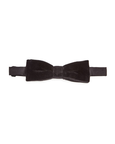 Solid Velvet Bow Tie, Black