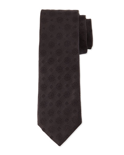 Brocade-Print Silk Tie, Black