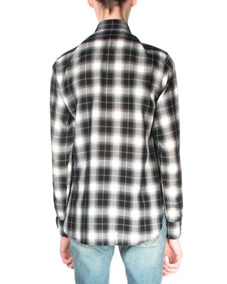 Plaid Flannel Long-Sleeve Shirt, Black/White