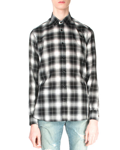 Plaid Flannel Long-Sleeve Shirt, Black/White