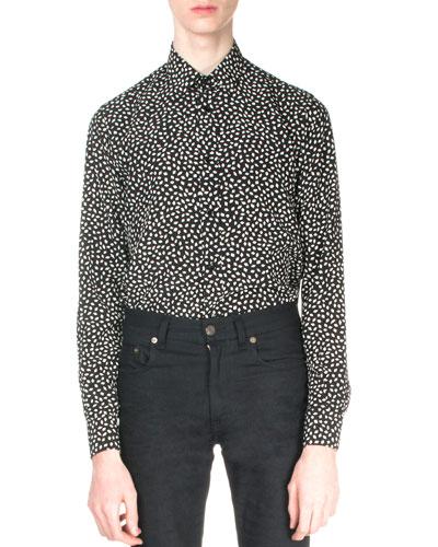 Geo-Print Long-Sleeve Shirt, Black/White