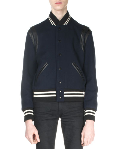 Classic Teddy Jacket with Leather Detail, Navy