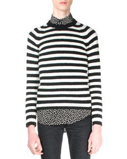 Shetland Striped Crewneck Sweater, Black