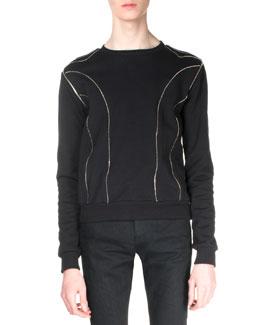 Allover Zipper Detail Sweatshirt, Black