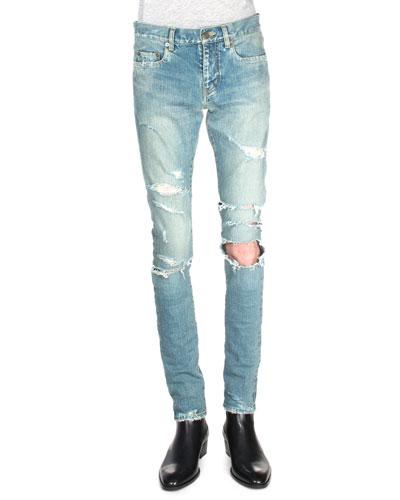 Trashed Ripped-Knee Denim Jeans, Blue