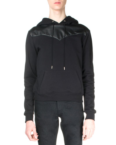 Hooded Sweatshirt with Leather Detail, Black