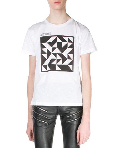 Geo-Print Artist Logo Tee, Black/White
