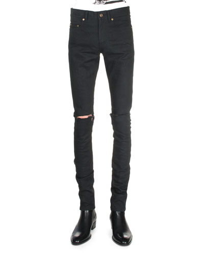 Split-Knee Destroyed Denim Jeans, Black