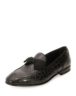 Mercer 2 Crocodile Formal Loafer with Bow Detail, Black