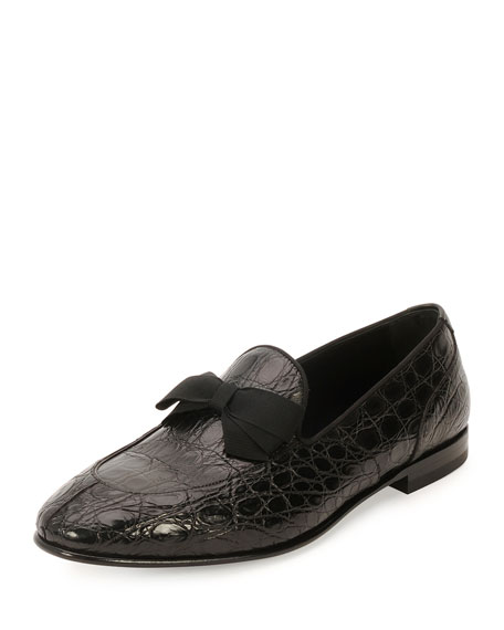 Crocodile Formal Loafer with Bow Detail, Black