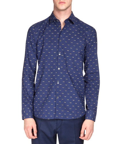 Eye-Print Poplin Shirt, Blue