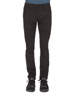 Brushed-Cotton Chino Pants, Black