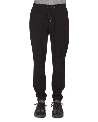 Textured Drawstring Jogging Pants, Black