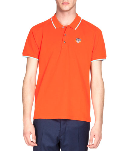 Tipped Tiger Short-Sleeve Pique Polo Shirt, Orange/White