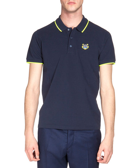 0d02aee75 Tipped Tiger Short-Sleeve Pique Polo Shirt Navy/Yellow