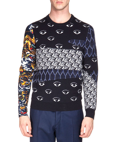 Multi-Icon Print Crewneck Sweater, Navy